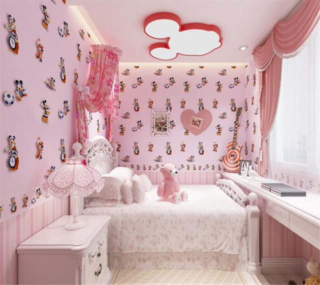 beibehang cute kids room pink blue yellow cartoon animal green wallpaper boys girl princess room bedroom - Princess Room