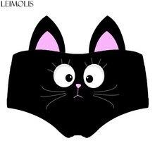 LEIMOLIS Cartoon black cat funny print sexy hot ear panties female kawaii Lovely underwear push up briefs women lingerie thongs