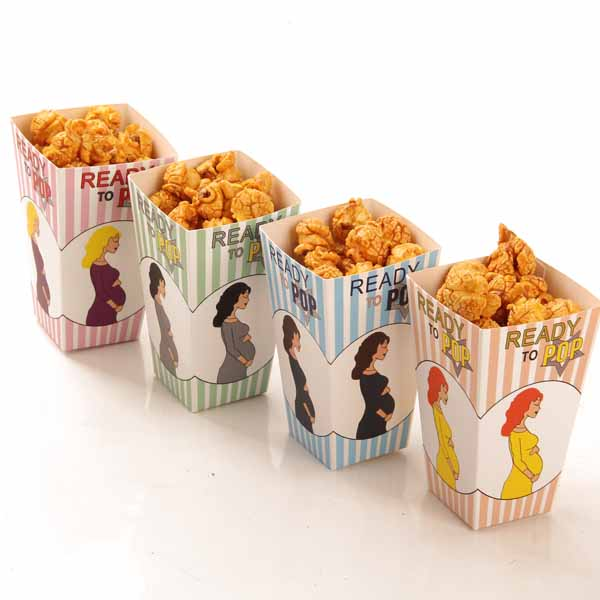 Popcorn Boxes Design Trio Miniature Scalloped Edge Cardboard Party Carton Candy Sanck Bags Movie Supply 50pcs