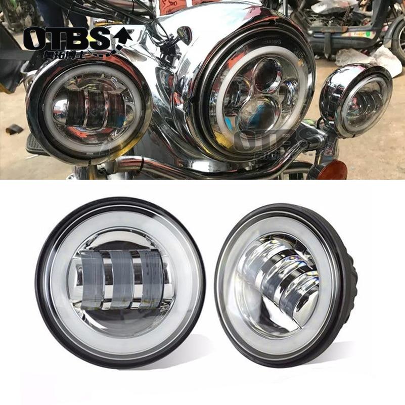 2pcs 4.5 Inch Motorcycle Led Fog Light DRL Led Fog Angel Eyes 30W Round 4 1/2 Auxiliary Passing Lamp For Harley