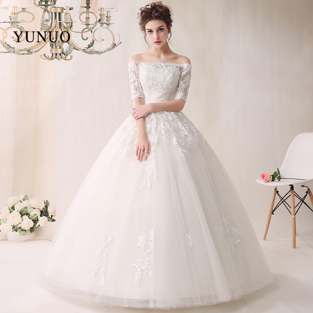 048465fc2a873 Vestido De Noiva Tekne Boyun düğün elbisesi 2019 Lüks Yarım Kollu Düğün gelinlikler  Beyaz Prenses Robe De Mariage Dantel Up