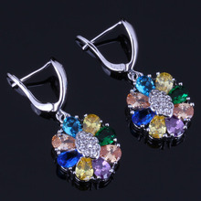 Royal Oval Multigem Multicolor Brown Cubic Zirconia White CZ 925 Sterling Silver Drop Dangle Earrings For Women V0762