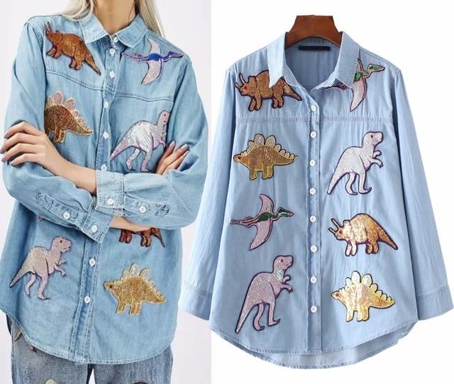 С длинным рукавом Для женщин джинсовая рубашка блестками динозавров животных женственная футболка Блузка Для женщин длинные джинсы рубашка Туники женские большие размеры