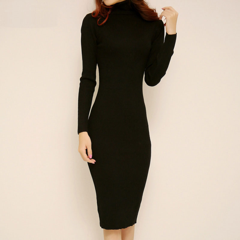 Turtleneck Sweater Dress Autumn Winter Brief High Neck