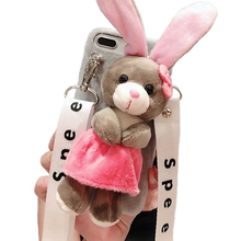 Cartoon Doll Toy Rabbit Phone Case, 3d Cute Stripes Plush Strap Soft Cover with Bracket Stand for 6 6s Case