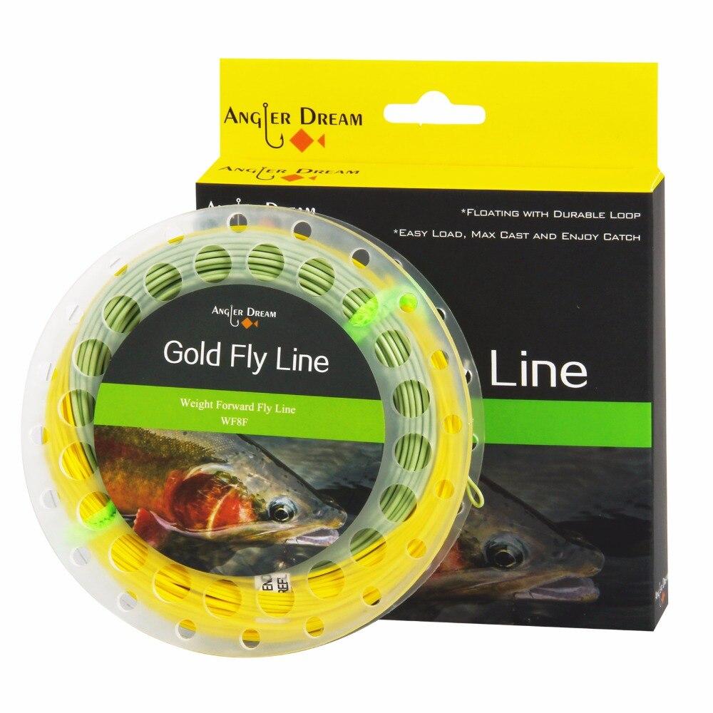Pescador Sonho Ouro Linha da Mosca Flutuante, 3F 4F 5F 6F 7F 8F 9F WF2F 100FT Voar Linha De Pesca Com Dois Loops Soldadas