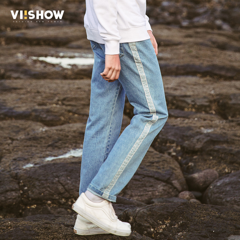 VIISHOW 2017 New Jeans Pants Men Designer Jeans Casual Pants Mid-Rise Straight Men Brand Clothing Blue Tops Trousers NC1867173 2016 new mens jeans pants elastic mid rise straight men clothing tops trousers deep blue casual trousers cool stretch men jeans