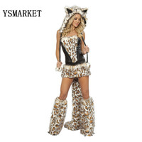 2018 Halloween Cosplay Carnival Costume Sexy Leopard Printed Patchwork Cat Women Game Suit Wolf Cosplay Outfit