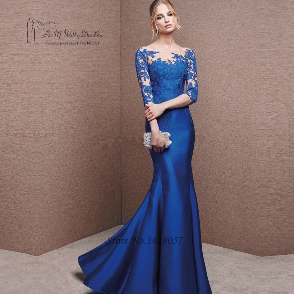Abiye Gece Elbisesi bleu longues robes de soirée dentelle sirène robe de soirée 2017 Vestido Longo de Festa pas cher robes de bal 3/4 manches