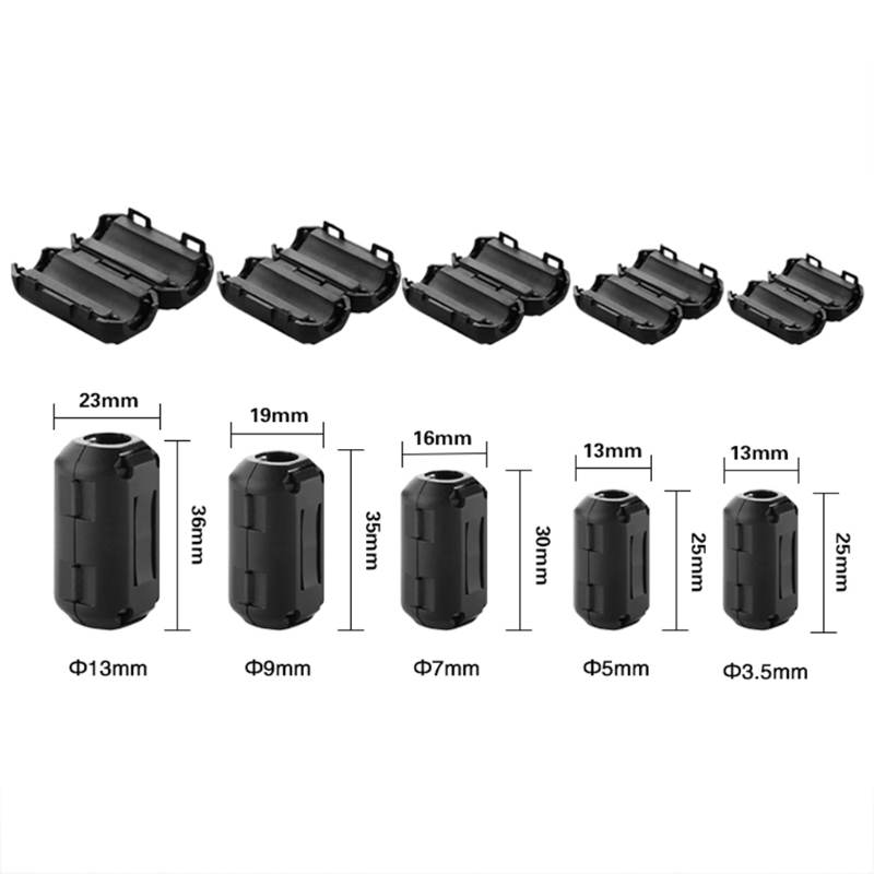 20 Pcs Ferrite Core Cord Ring RFI EMI Noise Filter Cable Clip for 3.5mm//5mm//7mm//9mm//13mm