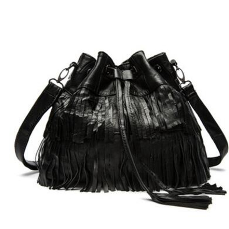 Steampunk Pure Sheepskin Genuine Leather Women Messenger Bags Punk Gothic Style Large Capacity Black Travel Women HandBags punk style pure color hollow out ring for women