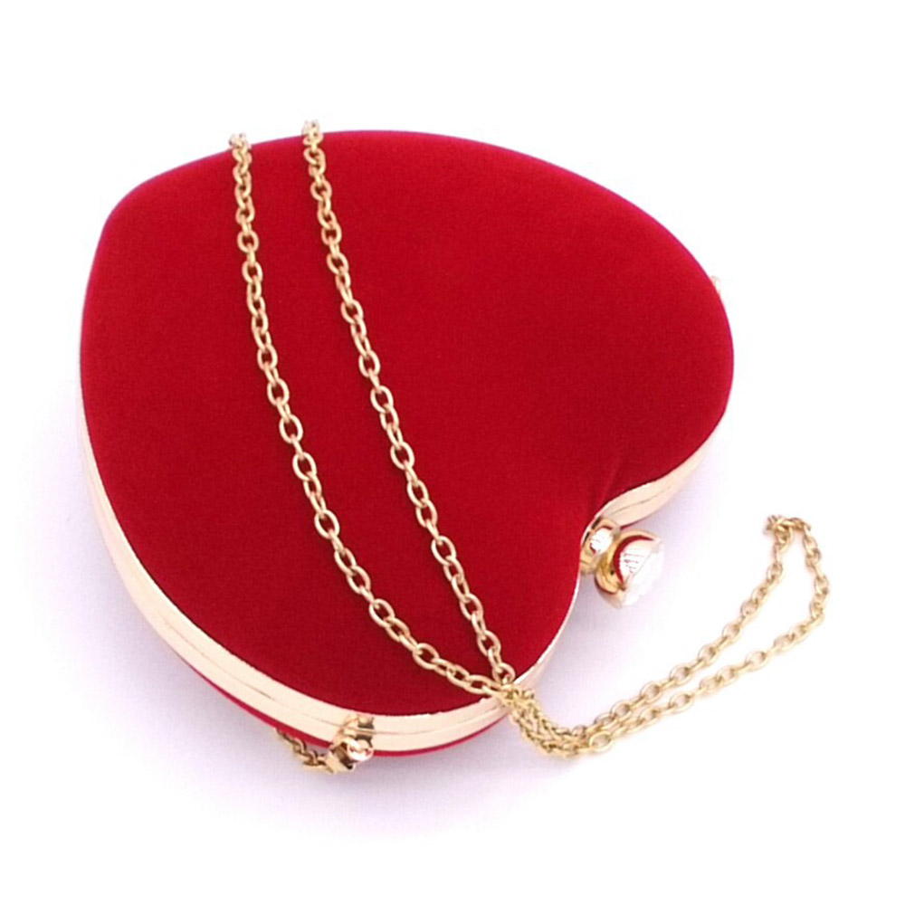 цена на Heart Shaped Diamonds Women Evening Bags Chain Shoulder Purse Day Clutches Evening Bags For Party Wedding