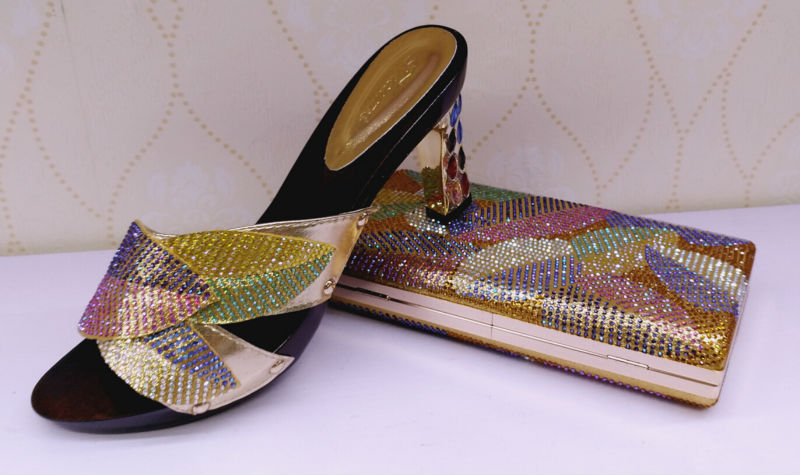 ФОТО Top Sale gold African Women Pumps With Bag To Mactch Beauty Pumps Shoes And Bag Free Shipping