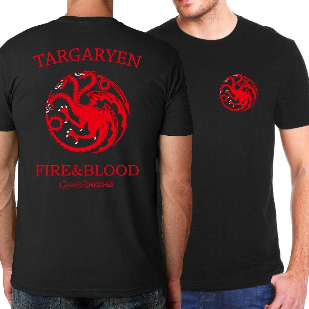Men's   T  -  shirts   Targaryen Fire & Blood 2019 Summer Game of Thrones   T  -  Shirt   For Men Casual Tshirts Fashion Streetwear Top   T     Shirt
