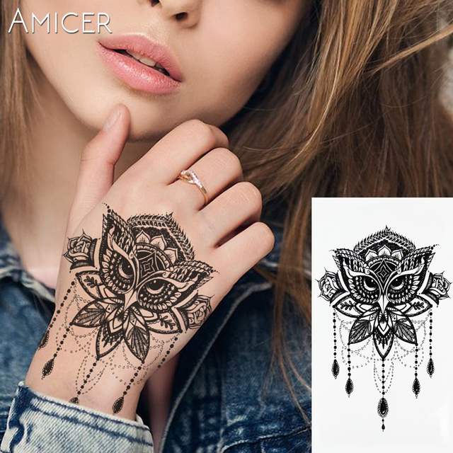 Sexy Lace Owl Hot Black White Large Flower Tattoo Henna Temporary