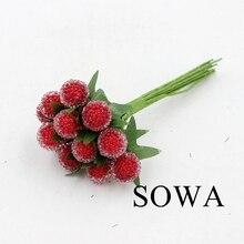 12 шт. Малый Ягоды Искусственные цветок красная вишня тычинки перламутровые свадебные моделирования Стекло гранат украшения