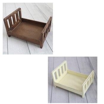 Cama rústica de madera de estilo Vintage, accesorios de fotografía para cama de recién nacido, accesorios de manchas de madera, cuenco para niñera de niña