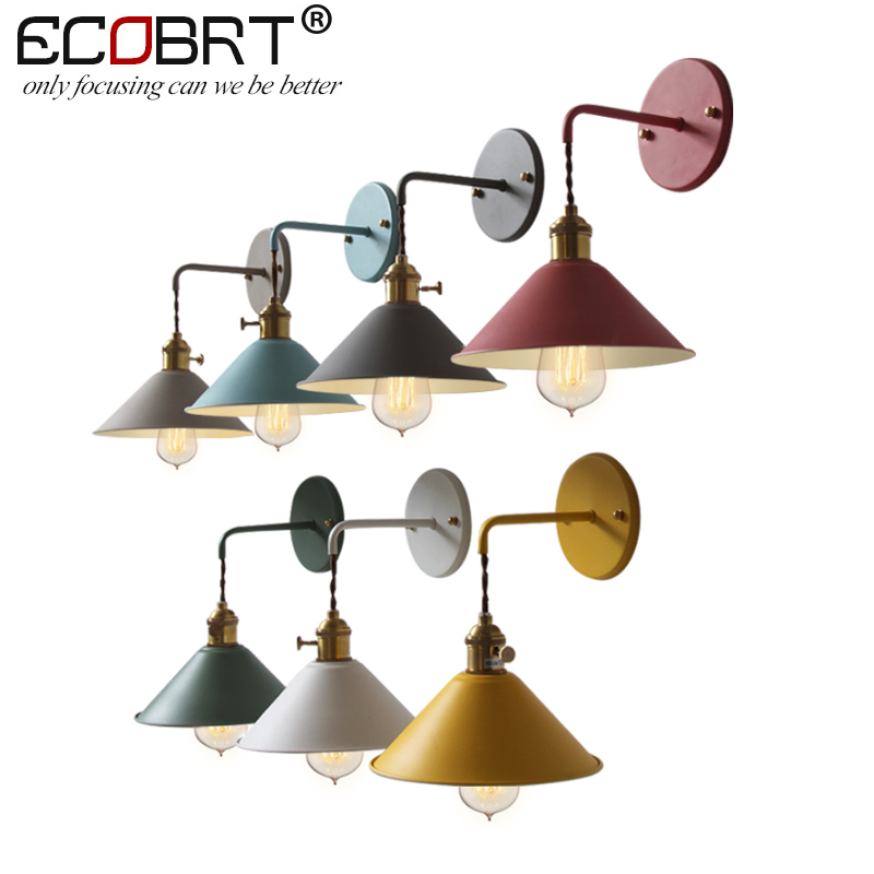 ECOBRT Retro American Loft Industrial Wall Lamps Vintage Bedside Wall Light Metal Lampshade E27 Edison Bulbs 110V/220V wholesale price loft vintage industrial edison wall lamps clear glass lampshade antique copper wall lights 110v 220v for bedroom