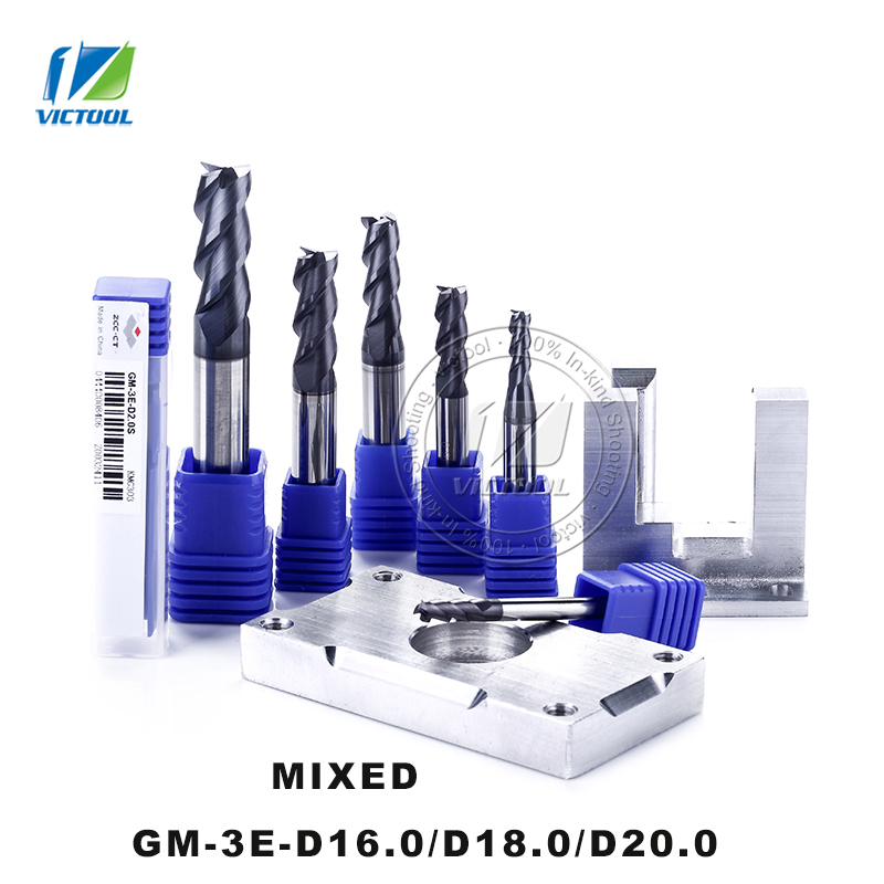 GM-3E/D16.0/D18.0/D20.0 Cemented Carbide 3-Flute Flattened End Mill Straight Shank Cutter Tools Machining For Stainless Steel high precision machining zcc ct al 3e d20 0 solid carbide 3 flute flattened cnc end mill 20mm straight shank milling cutter