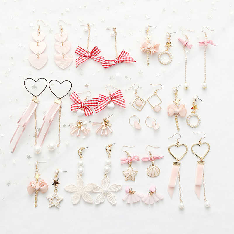 Yobest Japan Korean Pink Cute Asymmetry Drop Earrings for Girl Ear Woman Bow Yarn Star Heart pearl Jewelry