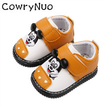 Insole 11.5-13.5cm New Autumn Cartoon Baby School Step Shoes Soft Bottom First Walker Have Sound