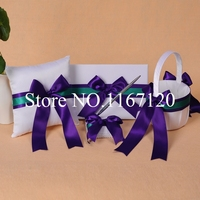 Green and Dark Purple Bowknot Wedding Guest Book Pen Holder Ring Pillow Basket Set 4piece Wedding Decor(N9)