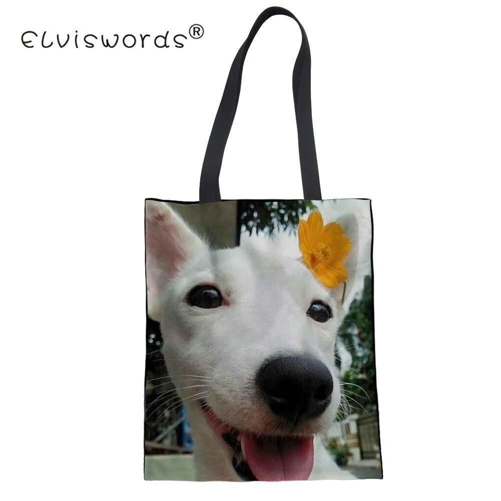 ELVISWORDS Jack Russell Terrier Prints Fashion Women Handbag Cotton Female Mom Eco Tote Shoulder Bags Foldable Shopper Bags Gift