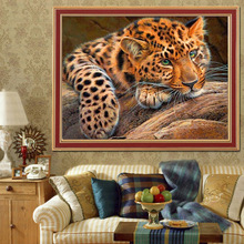 Paintings Modern Resin Animal 5d Leopard Cross Stitch Diamond Painting Diy Needlework Kits  Embroidery 25*35