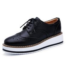 Zapatos de cuero genuino para mujer, zapatos planos Oxford con cordones, plataforma a rayas, Blanco, Negro, a la moda, zapatos de plataforma Vintage, zapatos de mujer