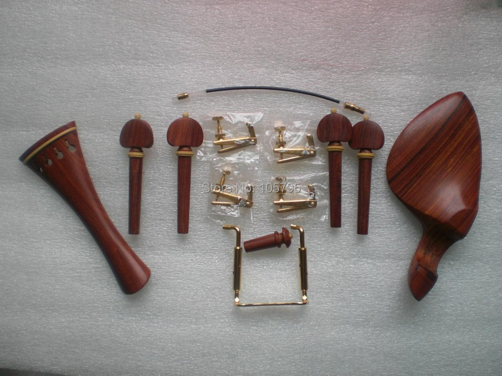 3 Set Best Quality Rose Wood Violin parts 4/4 Tail piece chin rest fine tuner tail gut free shipping high quality brazil wood 4 4 violin bow siberia white horsetail copper parts best balance parts accessories