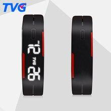 Silicón TVG Led de Los Hombres Relojes de los Deportes de Las Mujeres Vestido de Los Niños Reloj Electrónico LED Digital Hombres Reloj de pulsera Damas Mañana Correr Deporte