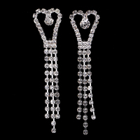 2016 New Fashion Womens Wedding Jewelry Silver Plated Full Rhinestone Filled Pave Crystal Dangle Tassel Long Earrings Hot Sale