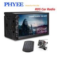 2 Din Зеркало Ссылка автомобиля Радио RDS Авторадио Bluetooth навигации 7