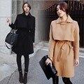 Низкий доставка Горячей новый зимнее пальто Корейской Тонкий шерстяное пальто и длинные участки талии шерстяное пальто женщина