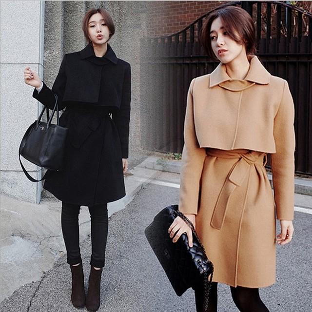 Gastos de envío bajo Caliente abrigo de invierno de Corea cintura Delgada capa de lana y largas secciones abrigo de lana femenino