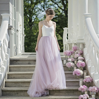 Dreamlike Tulle Mesh Women Skirt Summer Floor Length Saia Faldas with Train for Grass Woodland Wedding Celebrity Party Bride