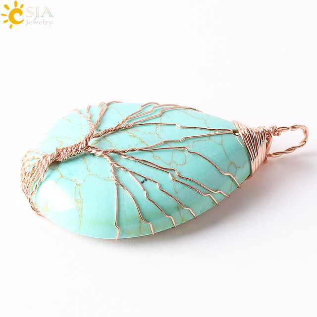Men Women Jewelry Rose Gold Color Wire Wrap Natural Amazon Stone ...