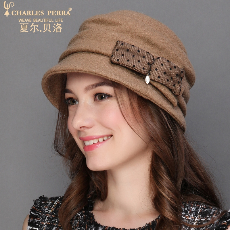 Charles Perra Brand Autumn Winter Women Hats NEW 2019 Wool Caps Thicken Thermal Casual Elegant Bucket Hats Adjustable 5254 in Women 39 s Bucket Hats from Apparel Accessories