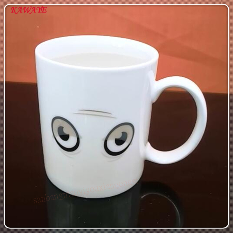1pcs Creative Ceramic Water Transfer Magic Cup Gift Mug Cold Heat Induction Big Eyes Fashion Coffee Mug Color Change Cup 9ZDZ344