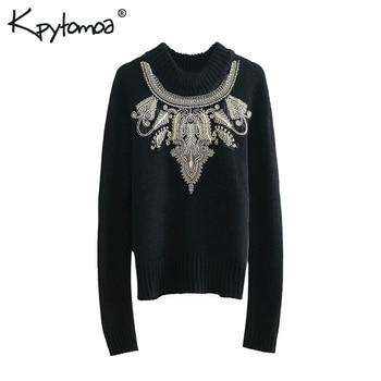 винтажный стильный вязаный свитер с вышивкой бисером для женщин