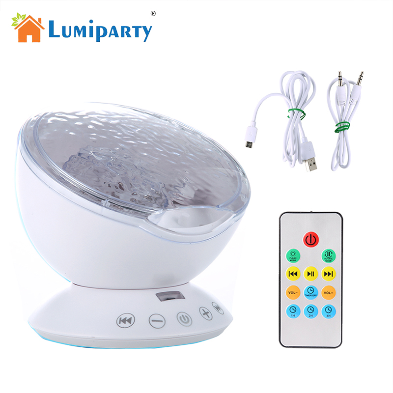 LumiParty New Remote Control Ocean Wave Projector 12 LED 7 Colors Night Light with Mini Music Player for Living Room and Bedroom keyshare dual bulb night vision led light kit for remote control drones