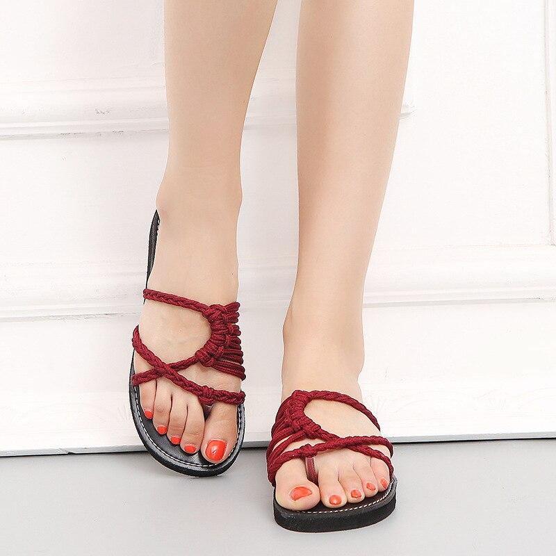 Wine Red Flip Flops Women Fashion Med Heel Beach Slippers Sandals 2018 Summer New Cross-Tie Open Toe Slide Shoes Plus size