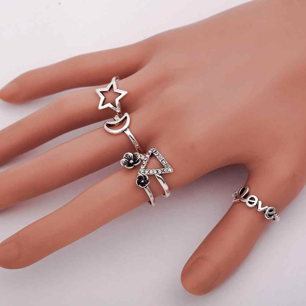 Hollow Out Star Moon Crystal Rings For Women Jewelry Silver Rings Women Triangle Letter Love Ring Vintage Wedding Promise Ring