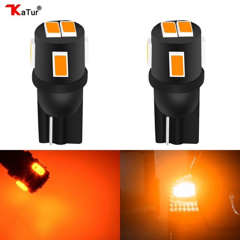 Katur T10 W5W 168 Led Bulbs 5630 6-Smd Auto Car LED Dome Map Trunk License Plate Light Lamp Bulb T10 Led Amber Orange Lighting