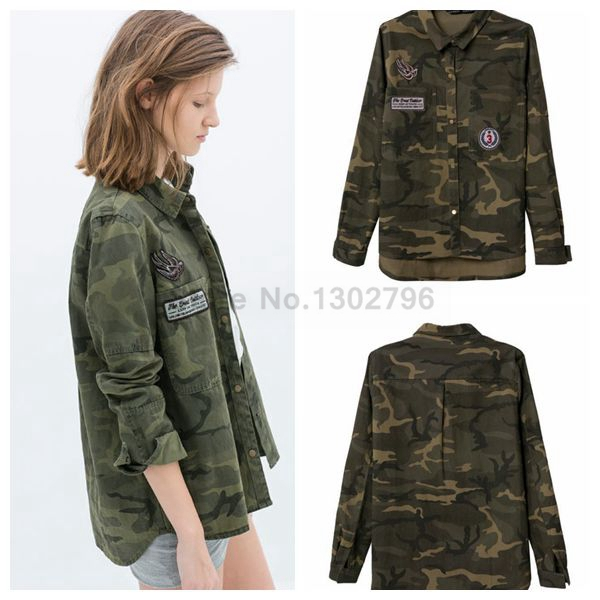 2014 European Women s Fashion Print Pattern Military Shirt Women s  Long-sleeve All-match Female Turn-Down Camouflage Shirts 6e797704bef