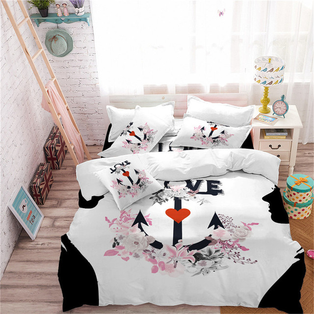 5fc67c2261 Princess Anchor Bedding Set Flowers Letter Print Duvet Cover Set Heart  Print Bedding King Queen Bedclothes Girls Bedroom Decor