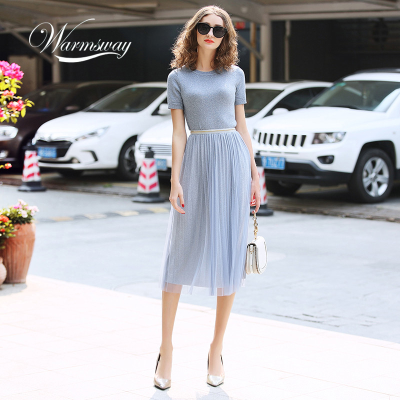 WARMSWAY Silver Shiny Lurex Knitted Womens Two Piece Sets  O-Neck Short Sleeve T Shirt  + High Waist Mesh Skirt C-069