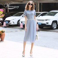 WARMSWAY Silver Shiny Lurex Knitted Womens Two Piece Sets O Neck Short Sleeve T shirt + High Waist mesh Skirt C 069
