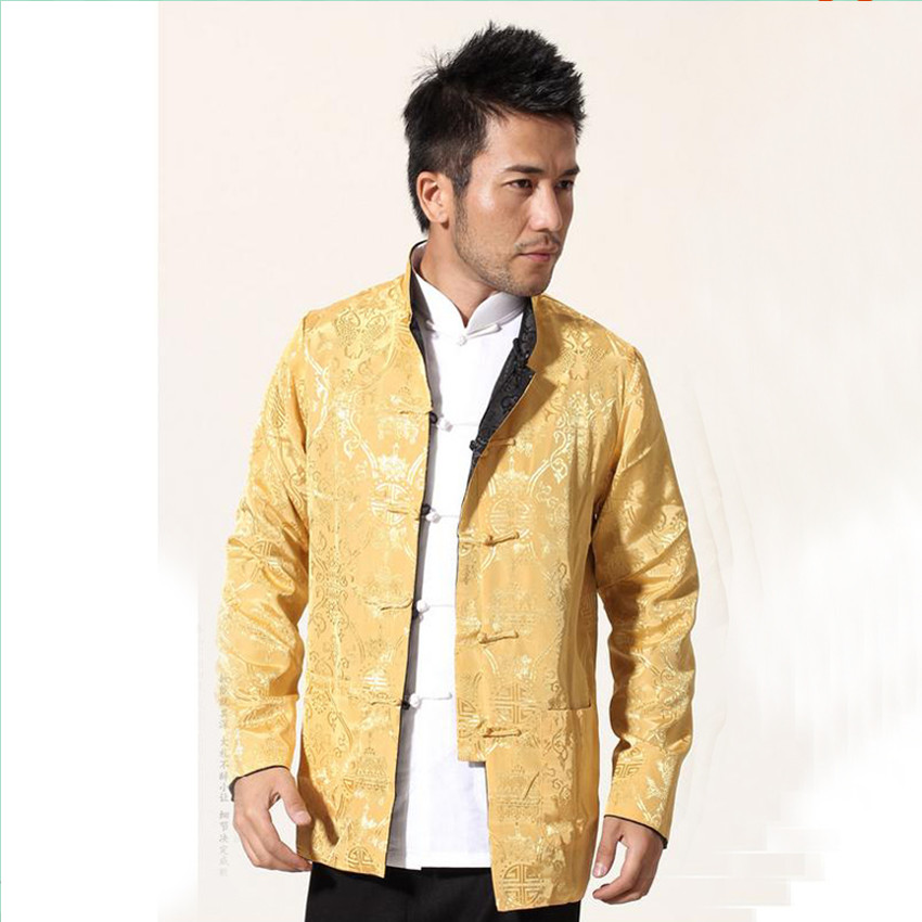 Black Gold Chinese Men Satin Jacket Two Sided Kung Fu Coat Mandarin Collar Tang Suit Top
