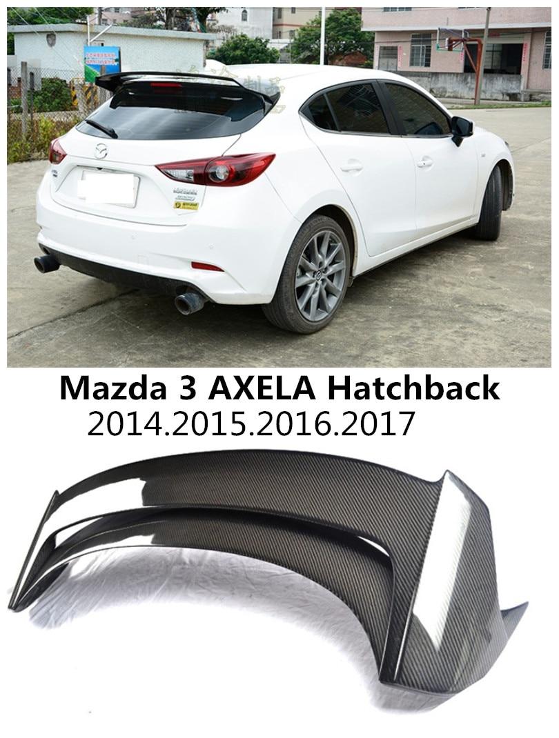 HLONGQT In fibra di Carbonio/Resina ABS Spoiler Per Mazda 3 AXELA Berlina 2014-2017 di Alta qualità Ala Posteriore Spoiler Accessori Auto